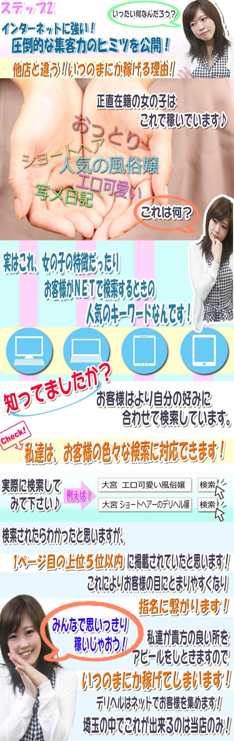 他店と違う当店の稼げる理由は、ネットに力を入れ指名に繋げているから!埼玉の中で出来るのは当店のみ!